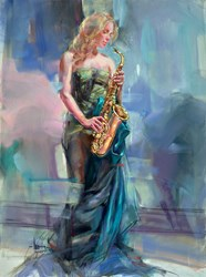 Syncopation II by Anna Razumovskaya - Original Painting on Stretched Canvas sized 30x40 inches. Available from Whitewall Galleries